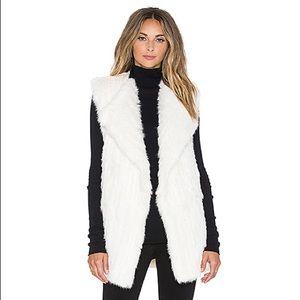 DVF Denver Rabbit Fur Vest Ivory Open Front